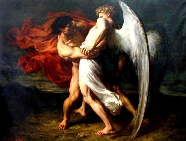 http://en.wikipedia.org/wiki/Jacob_wrestling_with_the_angel
